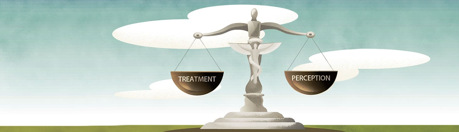 Balance scale of treatment and perception